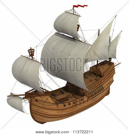 Caravel Over White Background