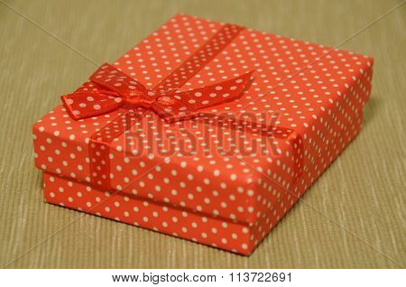 Red with white dots gift box