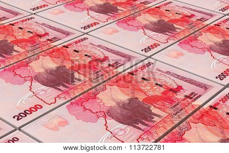 Ugandan shillings bills stacks background. Computer generated 3D photo rendering.