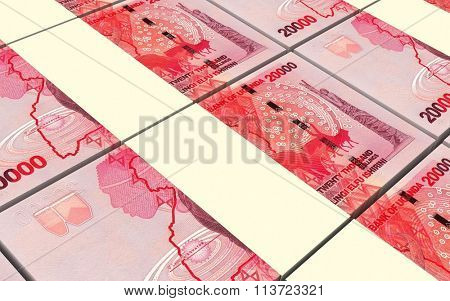 Ugandan shillings bills stacks background. Computer generated 3D photo rendering.