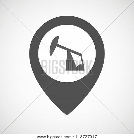 Isolated Map Marker With A Horsehead Pump