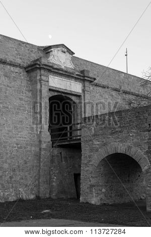 Moon Amnd Main Gate In Black And White