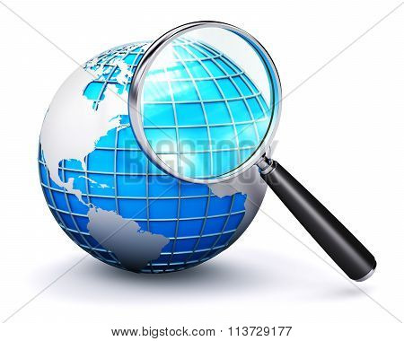 Blue Earth globe and magnifying glass