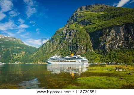 Large White Ship In Geiranger, Norway