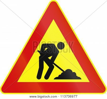 Road Sign Used In Italy - Roadworks