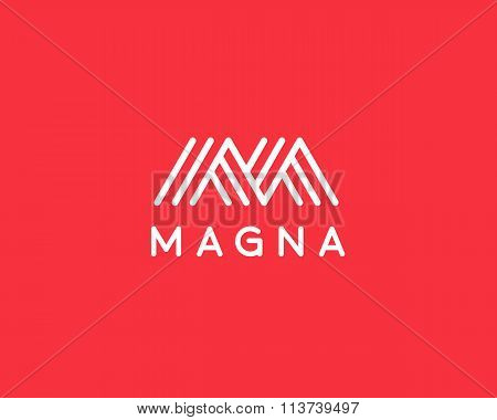 Abstract letter M W logo design. Line creative symbol. Universal vector icon. Roof mount camp sign.