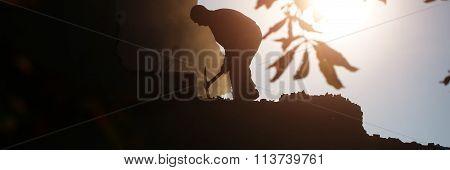 Dark Silhouette Of Labor Man
