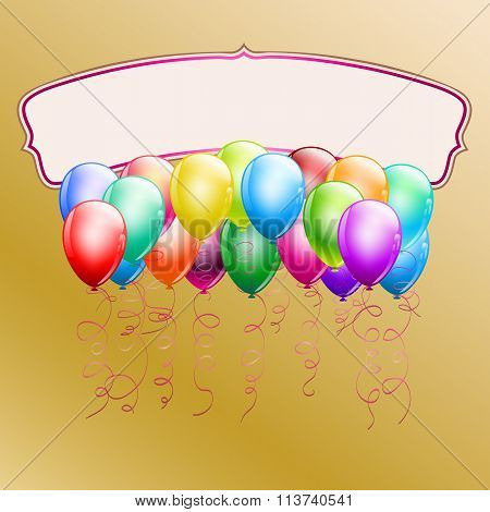 Colorful Balloons And Frame On Goden Background