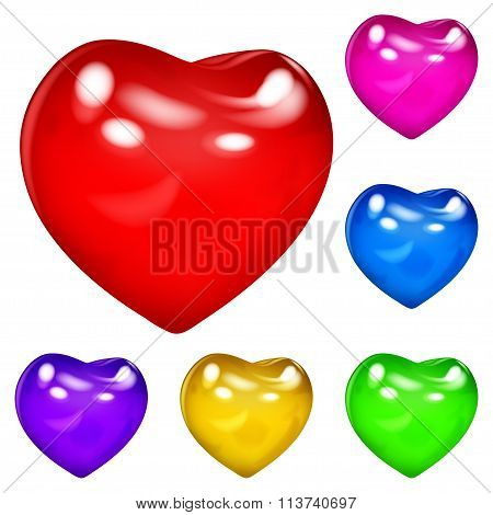 Set of beautiful opaque glossy hearts in various colors in white background poster