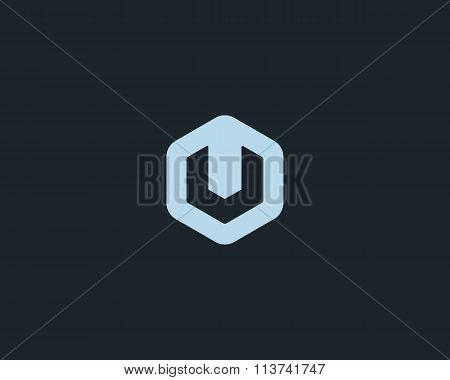 Abstract letter U logo design template. Colorful creative hexagon sign. Universal vector icon.