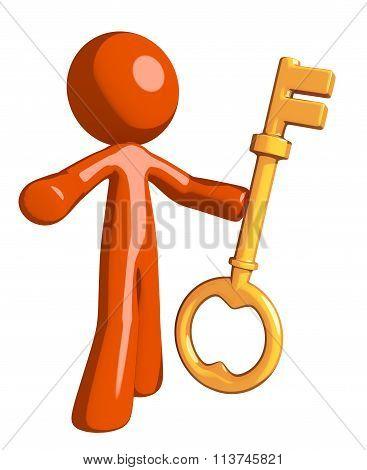 Orange Man Holding Key