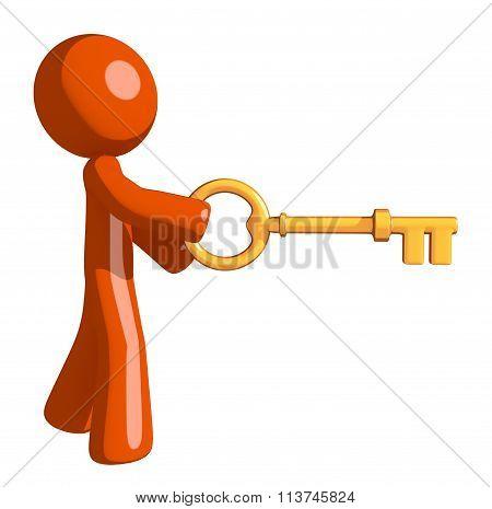 Orange Man Inserting Key