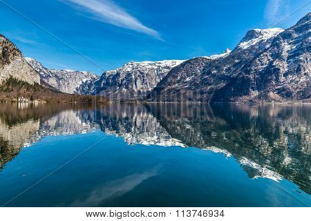 Beautiful View Of Lake Hallstater See With Mountains In The Background-Hallstatt Austria Europe poster