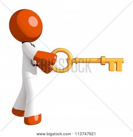 Orange Man Doctor Inserting Key