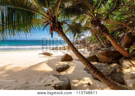 Beach Anse Takamaka of Mahe island, Seychelles