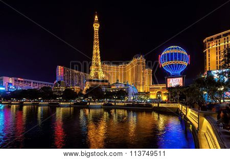 Night illuminated Strip and Eiffel Tower March 26, 2015 in Las Vegas, NV