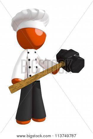 Orange Man Chef Holding Sledge Hammer