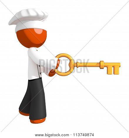 Orange Man Chef Using Large Key
