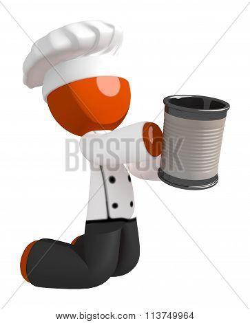 Orange Man Chef Begging For Money While Kneeling