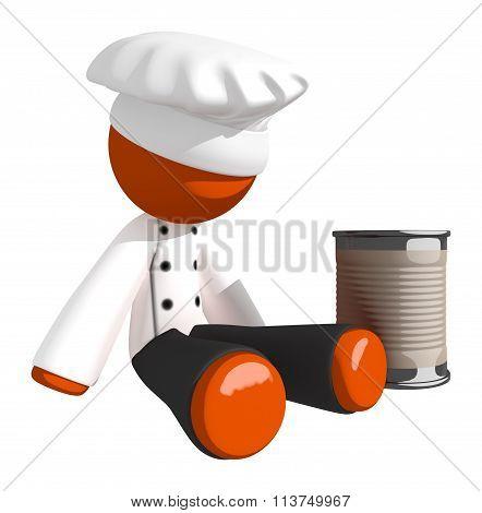 Orange Man Chef Begging For Money