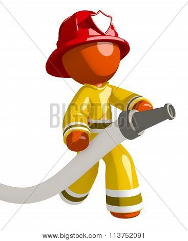 Orange Man Firefighter   Pointing Firehose