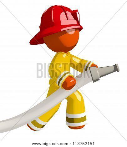 Orange Man Firefighter Using Firehose