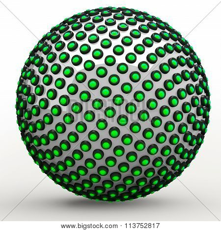 Green 3D Orb Sphere Golden Ratio Fibonacci Sequence Concept