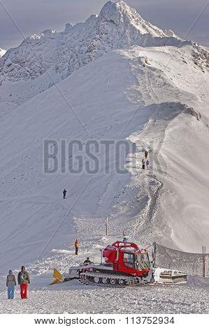 Ratrack At Work Atop Of Kasprowy Wierch Peak In Zakopane In Winter