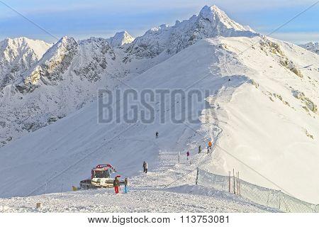 Ratrack At Work On Kasprowy Wierch Peak Of Zakopane In The Winter Time