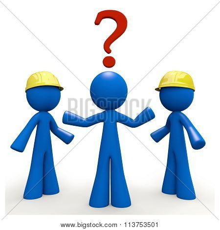 3D Blue Man With Question Mark, Contractor Decision