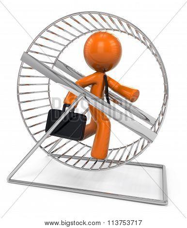 3D Orange Man Running In Hamster Wheel