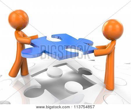 Orange Man Setting Puzzle As Team