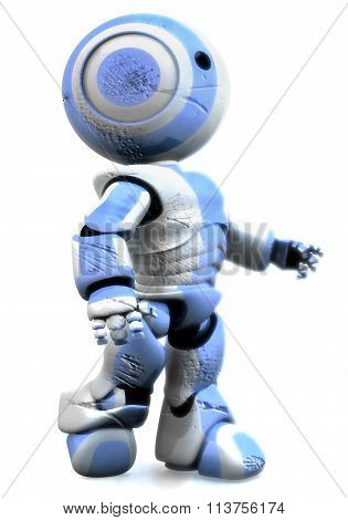 Blue And White Robot Beaten Up