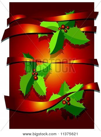 christmas background with leaves and ribbons