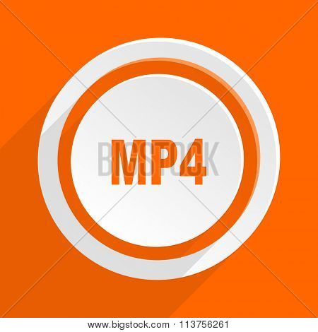 mp4 orange flat design modern icon for web and mobile app