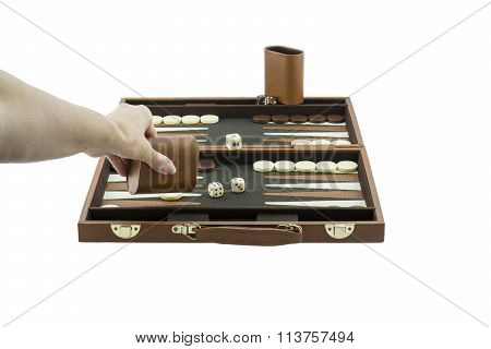 Playing Games Series - Woman's Arm Playing Backgammon