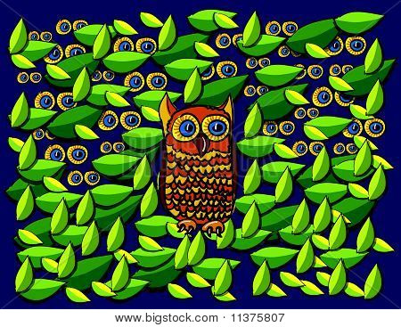 Owl And Leaves Cartoon