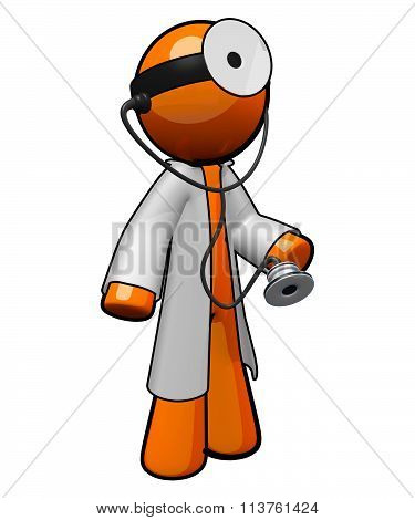 Labcoat, Stethescope, Mirror. 3D Orange Man Ready To Care For You
