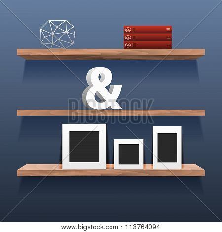 Book shelves in room interior with decor.