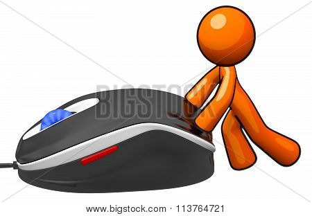 3D Orange Man Pushing Mouse