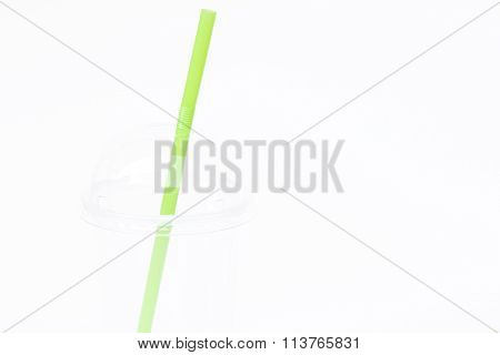 Empty Plastic Cup With Straw Isolated On White Background