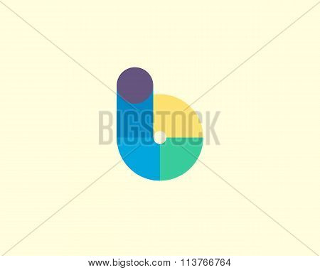 Abstract letter B logo design template. Colorful modern creative sign. Universal vector icon. Fresh
