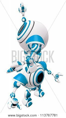 A Small Robot Standing On Partner's Head