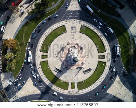 Top View of Marques de Pombal Square, Lisbon, Portugal