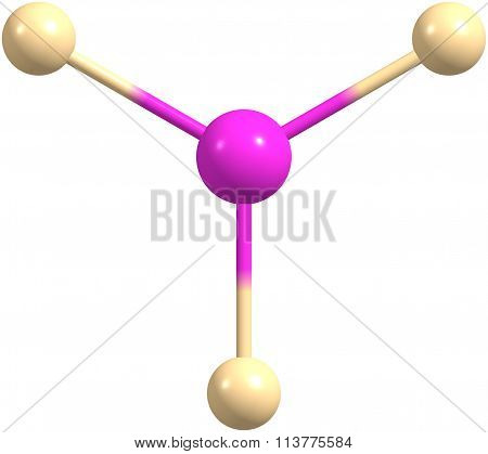 Boron trifluoride molecular structure isolated on white