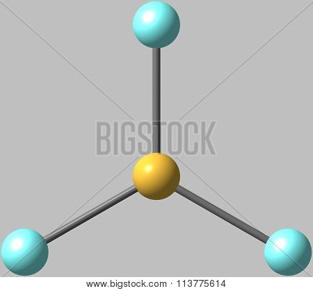 Boron trifluoride molecular structure isolated on grey