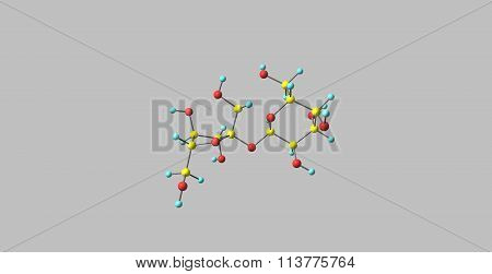 Sucrose molecular structure isolated on grey