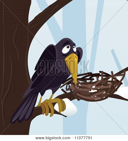 raven on the tree in winter forest poster