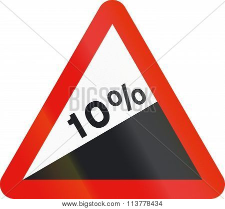 Road Sign Used In Spain - Steep Ascent