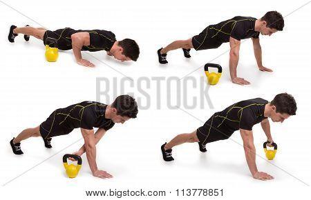 Kettlebell, Push Up Pull Thru, Exercise